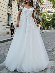 cheap -A-Line Wedding Dresses Off Shoulder Sweep / Brush Train Tulle Chiffon Over Satin Short Sleeve Country Sexy with Sashes / Ribbons Appliques 2020