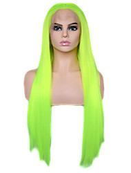 cheap -Vogue Queen Bright Yellow Green Long Straight Synthetic Lace Front Wig Heat Resistant Fiber Daily Wearing For Women