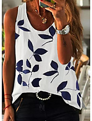 cheap -Women's Blouse Tank Top Floral Flower Round Neck Tops Blue Yellow White