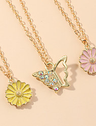 cheap -Women's Pendant Necklace Necklace Classic Butterfly Daisy Rustic Elegant Trendy Fashion Chrome Gold 45.5 cm Necklace Jewelry 3pcs For Party Evening Street Birthday Party Beach Festival