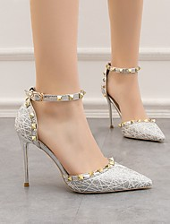cheap -Women's Heels Sandals Stiletto Heel Pointed Toe Daily PU Summer Black Gold Silver / 3-4