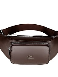 cheap -Men's Bags PU Leather Fanny Pack Zipper Solid Color Bum Bag Daily Black Brown