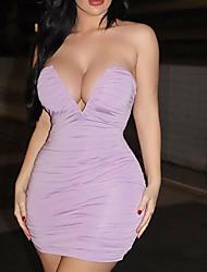 cheap -Women's Sheath Dress Short Mini Dress - Sleeveless Solid Color Summer Elegant Sexy 2020 White Black Blue Purple Blushing Pink S M L XL