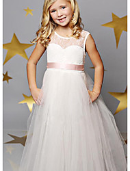 cheap -A-Line Floor Length Wedding / Party Flower Girl Dresses - Lace / Satin / Tulle Sleeveless Illusion Neck with Solid