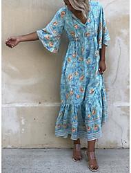 cheap -Women's A-Line Dress Maxi long Dress - Half Sleeve Print Summer Casual Mumu 2020 Light Blue S M L XL