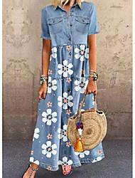 cheap -Women's Denim Shirt Dress Maxi long Dress Short Sleeve Floral Pocket Button Front Summer Hot Casual vacation dresses 2021 Blue M L XL XXL 3XL