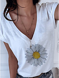 halpa -Naisten Kukka T-paita V kaula-aukko Päivittäin Kesä Valkoinen S M L XL 2XL 3XL