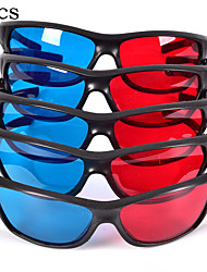 cheap -5 PCS 3D Glasses Black Frame Red Blue Plastic Cyan 3D Anaglyph for Movie Game DVD