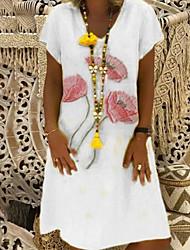 cheap -Women's A-Line Dress Knee Length Dress - Short Sleeve Floral Summer V Neck Work 2020 White Red Yellow Khaki Gray S M L XL XXL XXXL XXXXL XXXXXL