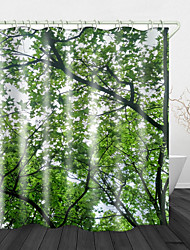 cheap -Dense Green Leaves Digital Print Waterproof Fabric Shower Curtain for Bathroom Home Decor Covered Bathtub Curtains Liner Includes with Hooks