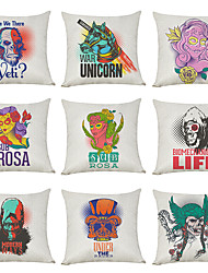 cheap -9 pcs Linen Pillow Cover, Retro Style North American Tide Street Casual Modern Square Traditional Classic