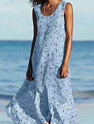 cheap -Women's A-Line Dress Maxi long Dress - Sleeveless Floral Pocket Summer Work Loose 2020 Yellow Blushing Pink Green Gray Light Blue S M L XL XXL