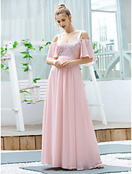 cheap -A-Line Straps Floor Length Chiffon / Sequined Bridesmaid Dress with Sequin