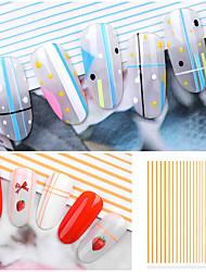 cheap -1 pcs Full Nail Stickers Vertical / Gold bar nail art Manicure Pedicure 3D Interface / Water Resistant / Ergonomic Design Romantic / Sweet Daily / Festival