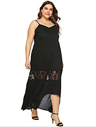 cheap -Women's Strap Dress Maxi long Dress - Sleeveless Solid Color Summer Casual Chinoiserie 2020 Black L XL XXL XXXL XXXXL