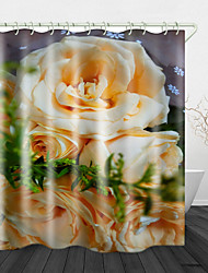 cheap -Beautiful Yellow Rose Digital Print Waterproof Fabric Shower Curtain for Bathroom Home Decor Covered Bathtub Curtains Liner Includes with Hooks