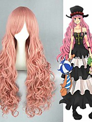 cheap -Cosplay Wig Perona One Piece Curly Cosplay Asymmetrical With Bangs Wig Very Long Pink Synthetic Hair 34 inch Women's Anime Cosplay Lovely Pink