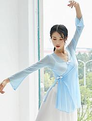 cheap -Ballet Top Bow(s) Split Women's Training Performance Long Sleeve High Stretch Yarn