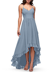 cheap -A-Line Halter Neck Asymmetrical Chiffon / Lace Bridesmaid Dress with Embroidery