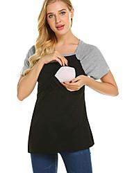 cheap -Women's Blouse Maternity Color Block Tops Round Neck Daily Summer Black S M L XL 2XL