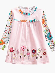 cheap -Baby Girls' Active Basic Blue & White Butterfly Sun Flower Floral Embroidered Long Sleeve Knee-length Dress Blue