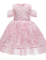 cheap -Kids Girls' Active Cute Floral Solid Colored Lace Short Sleeve Midi Dress Blushing Pink