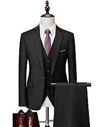 cheap -Tuxedos Tailored Fit / Standard Fit Notch Single Breasted One-button Cotton Blend / Cotton / Polyester Solid Colored
