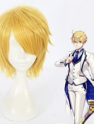 cheap -Cosplay Wig Arthur Pendragon Fate / Stay Night Straight Cosplay Short Bob Wig Short Blonde Synthetic Hair 12 inch Men's Anime Cosplay Cool Blonde