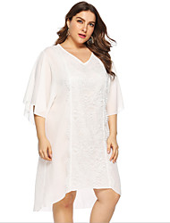 cheap -Women's A-Line Dress Knee Length Dress - Half Sleeve Solid Color Summer Casual Chinoiserie 2020 White L XL XXL XXXL XXXXL