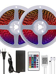 cheap -Bright RGB LED Strip Lights 32.8ft 10M RGB Tiktok Lights 1200LEDs SMD 5050 with 24 Keys IR Remote Controller and 100-240V Adapter for Home Bedroom Kitchen TV Back Lights DIY Deco