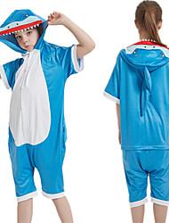 cheap -Kid's Kigurumi Pajamas Shark Onesie Pajamas Silk Fabric Blue Cosplay For Boys and Girls Animal Sleepwear Cartoon Festival / Holiday Costumes / Leotard / Onesie