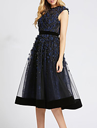 cheap -A-Line Elegant Floral Engagement Cocktail Party Dress Jewel Neck Sleeveless Tea Length Tulle with Appliques 2020