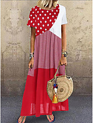 cheap -Women's Maxi long Dress - Short Sleeves Polka Dot Print Summer Casual Vacation Loose 2020 Blue Red Yellow Red Combo S M L XL XXL XXXL