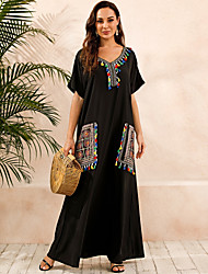 cheap -Women's Kaftan Dress Maxi long Dress Black Short Sleeve Print Summer V Neck Hot Casual Boho vacation dresses 2021 S M L XL XXL 3XL 4XL 5XL / Plus Size