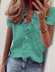 cheap -Women's Solid Colored Print Shirt Daily White / Blue / Blushing Pink / Orange / Green