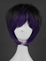 cheap -Cosplay Wig Lolita Straight Cosplay Halloween With Bangs Wig Short Purple Synthetic Hair 14 inch Men's Anime Cosplay Creative Mixed Color