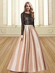 cheap -Ball Gown Color Block Elegant Engagement Formal Evening Dress Jewel Neck Long Sleeve Floor Length Satin with Pleats 2021