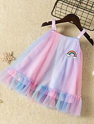cheap -Kids Girls' Active Cute Dusty Rose Dusty Blue Rainbow Mesh Sleeveless Knee-length Dress Rainbow