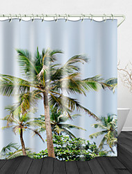 cheap -Tall Coconut Tree Digital Print Waterproof Fabric Shower Curtain for Bathroom Home Decor Covered Bathtub Curtains Liner Includes with Hooks