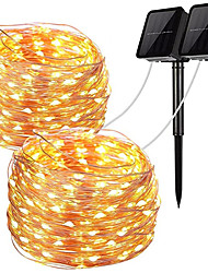cheap -2pcs LED Outdoor Solar Garden String Lights 100 LEDs Fairy Holiday Christmas Party Garland Solar Garden Waterproof 12m