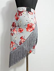 cheap -Latin Dance Skirts Tassel Pattern / Print Split Joint Women's Training Performance Milk Fiber Ice Silk