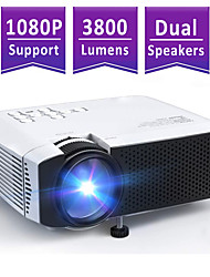cheap -Mini Projector AT400 Beamer 3800L Brightness Projector Support 1080P 180 Display Portable Movie Projector 45000Hrs LED Life and Compatible with TV Stick PS4 HDMI TF AV USB for Home Entertainment