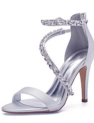 cheap -Women's Wedding Shoes Stiletto Heel Open Toe Wedding Sandals Sexy Minimalism Roman Shoes Wedding Party & Evening Satin Rhinestone Crystal Solid Colored White Black Purple