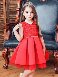 cheap -Princess / Ball Gown Knee Length Wedding / Party Flower Girl Dresses - Tulle Sleeveless V Neck with Sash / Ribbon / Bow(s) / Appliques