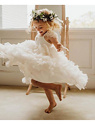 cheap -Ball Gown Knee Length Wedding / Party Flower Girl Dresses - Chiffon Sleeveless Scoop Neck with Pleats / Tier / Solid