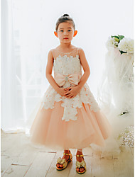 cheap -Ball Gown Tea Length Wedding / Birthday / Pageant Flower Girl Dresses - Lace / Tulle Sleeveless Jewel Neck with Bows / Pearls