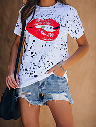 cheap -Women's T-shirt Graphic Tops - Print Round Neck Basic Daily Summer White S M L XL