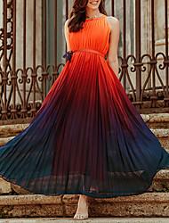 cheap -Women's Chiffon Dress Maxi long Dress - Sleeveless Color Gradient Summer Work 2020 Rainbow S M L XL