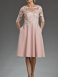 cheap -A-Line Mother of the Bride Dress Elegant Jewel Neck Knee Length Chiffon Lace Half Sleeve with Appliques 2020