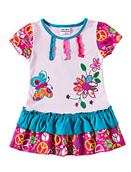 cheap -Baby Girls' Active Tropical Leaf Sun Flower Floral Jacquard Embroidered Short Sleeve Knee-length Dress Blushing Pink